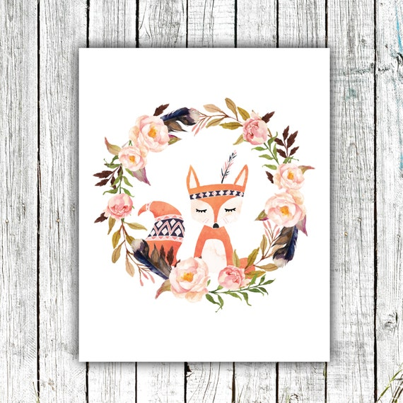 Nursery Art Printable, Hand drawn Fox, Floral Wreath, Tribal Feather, Aztec, Watercolor #419