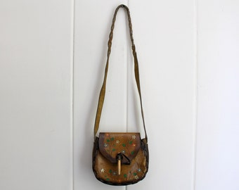 Vintage 70s Tooled Leather Saddlebag - 60s Hippie Purse Leather Bohemian Boho Festival Bag