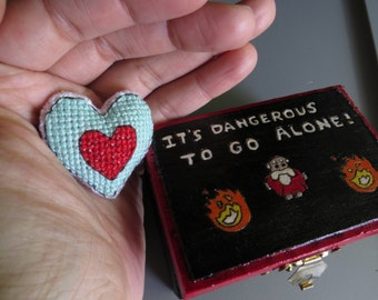 """Legend of Zelda Themed Wooden Box; """"It's Dangerous to go Alone!"""" with Piece of Heart"""