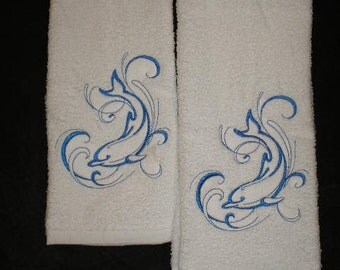 Pair of hand towels - Diving dolphin - EMBROIDERED 15 x 25 inch for kitchen or bath more colors available