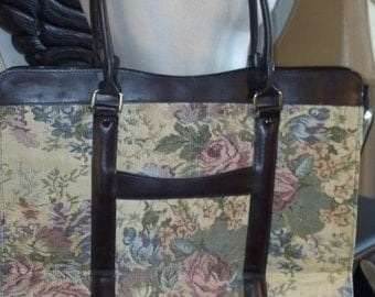 Geoffrey Beene Leather and Tapestry Women's briefcase, laptop bag EUC