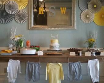 10pc Set of yellow & gray Paper Pinwheel's Rosette paper Flower Party Decoration wedding birthday shower pinwheel decour pinwheels paper fan