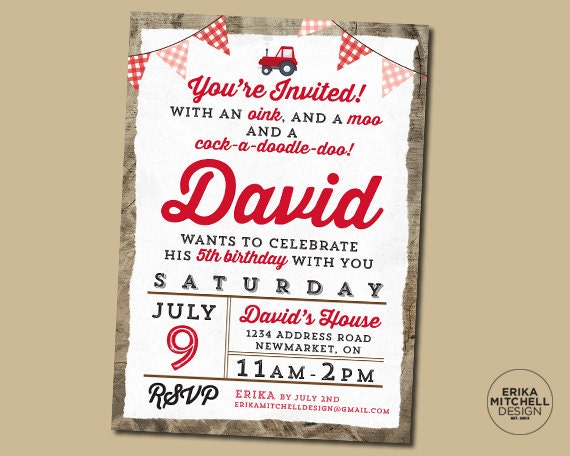 Red Tractor Oink Moo Cock-a-doodle-doo Birthday Invite
