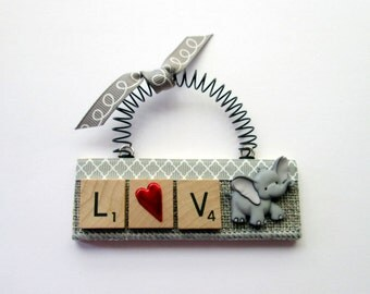 Love Elephants Scrabble Tile Ornament