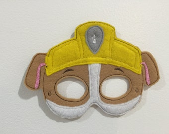 Paw patrol inspired mask RUBBle IN The Hoop embroidery design Instant Download pattern 5x7 hoop, paw patrol Rubble mask