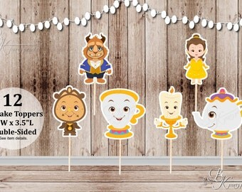 Beauty and the Beast Party - Set of 12 Assorted Princess Belle and Friends Inspired Double Sided Cupcake Toppers