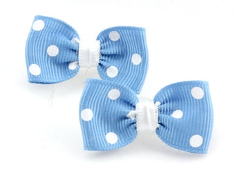 Blue Polka Dot Dog Hair Bows (2) Baby Blue Puppy Bow with White Polka Dots. Blue Ribbon Hair Bows for Little Girls and Dog. Yorkie Bow
