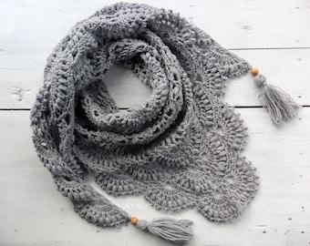 Shawl-knitted shawl-gray shawl-scarf-crochet shawl-knitted scarf-hand knit-warm shawl-warm scarf-wedding shawl-accessories-wedding capelet