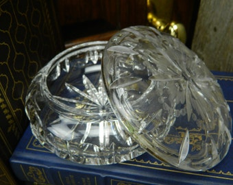 Vintage Cut Crystal Covered Candy Dish