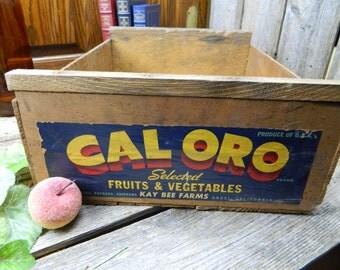 Vintage Caloro Wood Fruit Crate - California