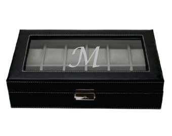 Watch Box - Holds 12 Watches - Black Leather Watch Box With Glass Lid - Jewelry Case Organizer - Christmas Gift - Birthday Present