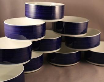 Airline LUFTHANSA Dessert bowl Classic Vintage Design Hans Theo Baumann for Rosenthal 60s 1st class dishes porcelain Industrial cobalt blue