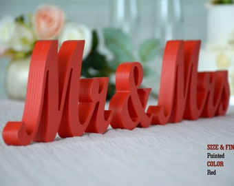 Red Mr & Mrs Wedding Signs, Mr and Mrs Wood Wedding Decoration
