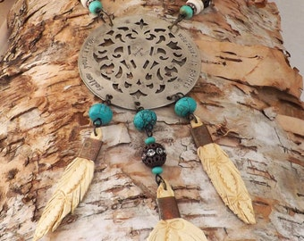 Upcycled Handstamped Turquoise Dream Catcher Statement Necklace