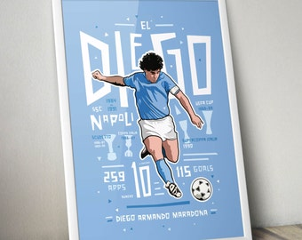 Diego Maradona - Napoli Tribute Print