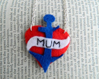Handmade tattoo inspired heart anchor felt applique mum mothers day necklace