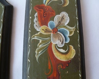 Pair Tole Painted  Wood Picture Plaques