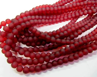 Frosted Glass Beads, Cranberry, Dark Red, 8 mm, 56 Beads, Value Beads, Great for any Beading Project #0058