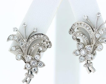 1940 Platinum Diamond Earrings