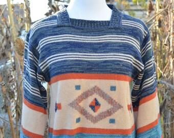 70s Boho Hippie Bell Sleeve Sweater Women's Pullover Aztec Print Space Dye Medium