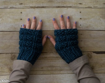 Soft Wool Chunky Knit Fingerless Gloves Hand Warmers Texting Gloves - Blue - Ready to Ship
