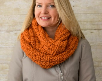 Soft Wool Chunky Knit Infinity Scarf, Knit Cowl, Knit Snood, Chunky Knit Scarf, Pumpkin Orange - Ready to Ship