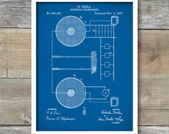 Patent Print, Tesla Electrical Transformer, Tesla Wall Art, Tesla Print, Tesla Patent, Tesla Poster, P281