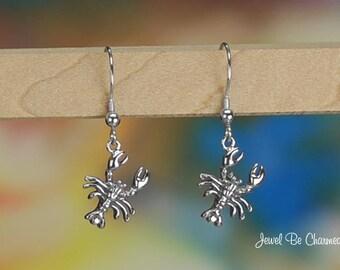 Sterling Silver Crawdad or Crayfish Earrings Fishhook Solid .925