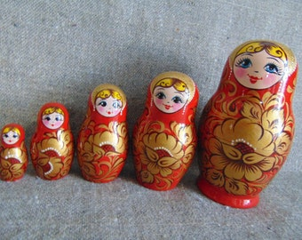 "Russian matryoshka ""Polushka"",5 pieces.Made in Russia.Growth 15 cm(5.91)"