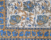 """Sanganeri hand-block-printed table cloth in natural cotton, size 60 x 90"""""""