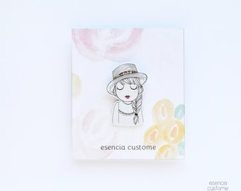 "Illustrated brooch ""Brigitte"" esencia custome"