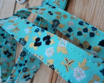 Seafoam Green and Gold Floral 3/4in Lanyard