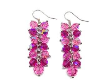 Pink Cluster Earrings, Pink Earrings, Fucshia Earrings, Crystal Cluster, Crystal Drop Earrings, Crystal Earrings,  Long Earrings, Earrings