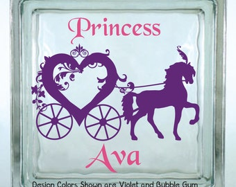 Personalized Princess Horse and Carriage Decorated Glass Block Vinyl Decal / Girls Piggy Bank