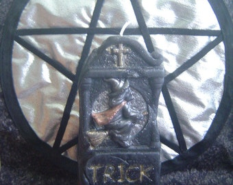 Candle headstone witch trick or treat Helloween