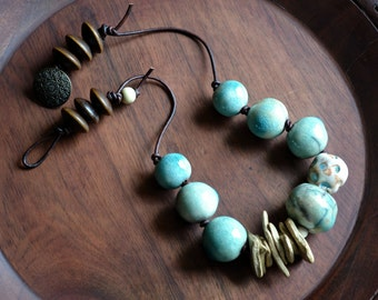 Boho Tribal Necklace, Ceramic Necklace, Statement Necklace, Organic Chic Necklace, Earthy Indie Jewelry, African Beaded Necklace, Aqua Brown