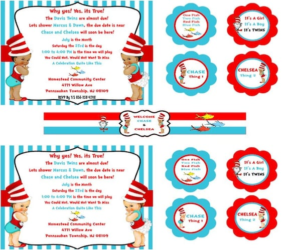 Thing 1 & Thing 2 Party Or Baby Shower Theme Real Babies By SOMETHING SWEET PARTY FAVORS