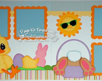 Scrapbook Page Kit Easter Spring Bunny Boy Girl Baby 2 page Scrapbook Layout 119