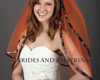 Camo Veil, Mossy Oak Wedding, Bridal Veil, Orange Veil, Fast Shipping!