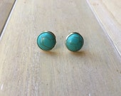 Silver colored earrings with faux turquoise stone