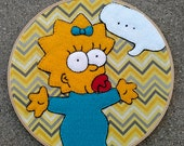 Maggie Simpson. Cartoon Character Fan Art. Felt Applique. Embroidered Hoop Art.  Hand Stitched. The Simpsons.