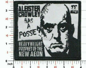 Aleister Crowley has a posse patch! A new product from your friends at Not For Prophet Industries