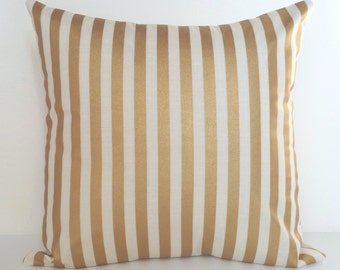 Pillow Cover Gold, Cream and Gold Pillow, Striped Pillow, Suede Pillow