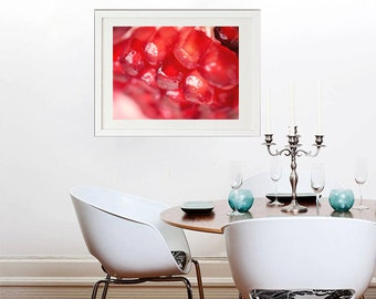 Kitchen wall art abstract photography, pomegranate seed food photo print, modern fruit art red kitchen decor, dining room art, restaurant
