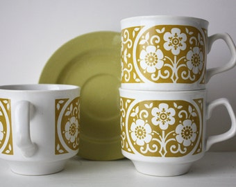 TAMS 1960s, 1970s, Mustard, Floral, Coffee Cup Trios (Cup, Saucer & Side Plate)