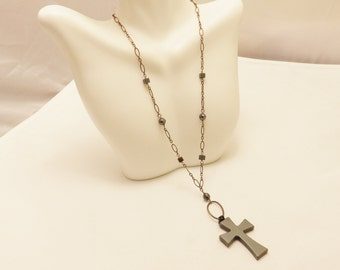 Sterling Silver Hematite Cross Necklace
