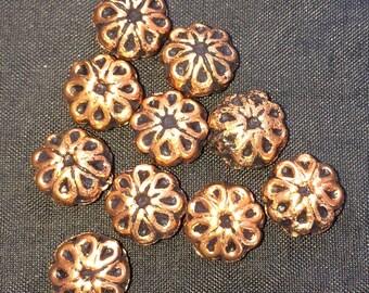 Solid Copper Antiqued Flower; 10mm; 6mm deep; 10 per package