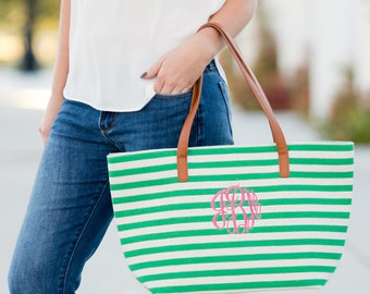 Personalized Embroidered Green Stripe Purse Bag