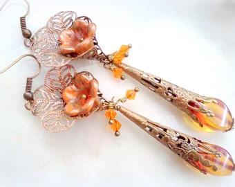 Victorian Earrings, Lucite Earrings, Vintage Style Earrings, Hand Painted Earrings, Handmade Earrings, Flower Earrings, Long Earrings, Boho