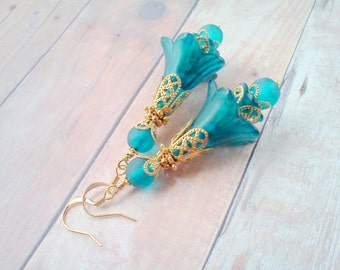 Hand Made Earrings, Hand Painted Aqua Earrings, Teal Earrings, Flower Earrings, Bridal Earrings, Gift for Her Under 25, Victorian Earrings